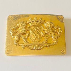 ST JOHN Gold Lion Crest Belt Buckle